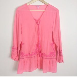Lilly Pulitzer Tallulah v neck embroidered tunic